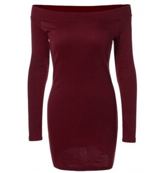 dress hot burgundy fashion long sleeves style trendy girly casual bodycon dress sexy rosegal