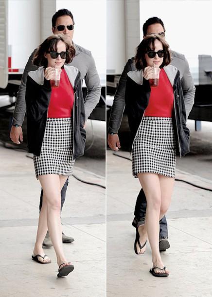 49508645f skirt, pencil skirt, gingham, short skirt, mini-skirt, black, white ...