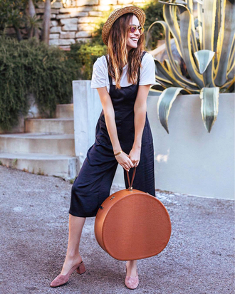 jumpsuit black jumpsuit hat tumblr bag round bag t-shirt white t-shirt shoes mules sun hat