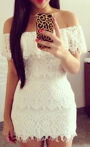 Off the shoulder party lace mini dress