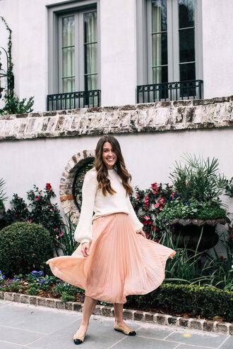 sequins and stripes blogger skirt sweater pleated skirt pink skirt ballet flats