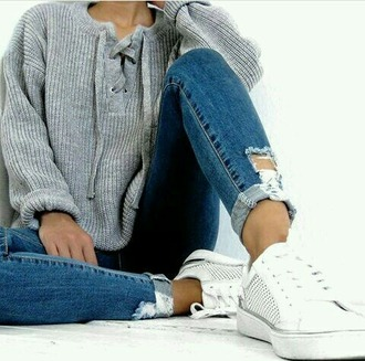 sweater grey sweater lace up jumper