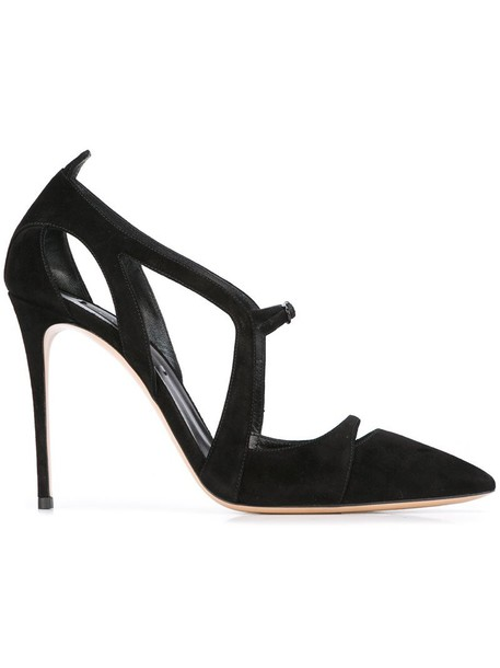 CASADEI pointed toe pumps women pumps leather suede black shoes