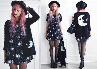 dress sun moon stars grunge indie black dress