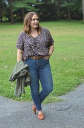 mommyinheels,blogger,top,jeans,shoes,jacket,plus size,flats,skinny jeans,fall outfits