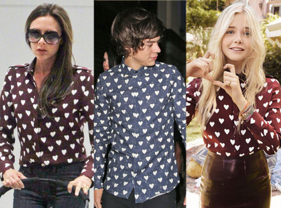 victoria beckham celebrity celebrity style shirt elle fanning Elle Fanning harry styles one direction burberry heart hearts heart print long sleeve long sleeves long sleeved long sleeve shirt women's shirt women blouse fall 2013