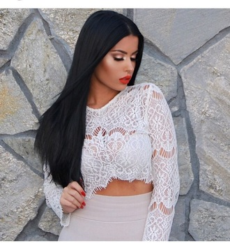 top long sleeves see through style fashion cute top white top white crop tops lace top red lipstick blouse shirt
