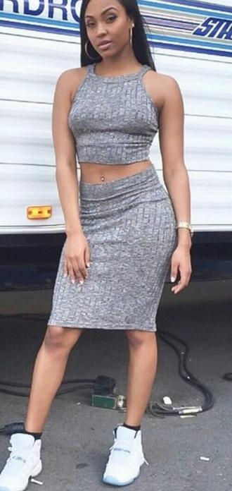 dress two piece dress set knitted dress grey dress