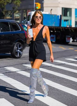 dress mini dress black dress boots over the knee silver nyfw 2017 ny fashion week 2017 anna dello russo streetstyle shoes