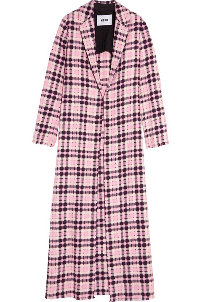 MSGM coat open weave cotton pink