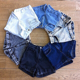 shorts white black blue summer fashion style modern hipster cuffed shorts