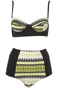 TOPSHOP Stained Glass Bikini Bra let High Waisted Swimsuit 8/10 4/6 Lime Black | eBay