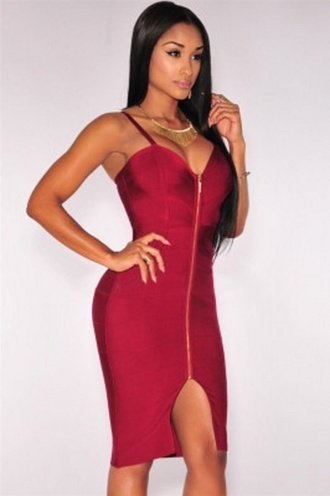 dress wots-hot-right-now bandage dress red dress front zipper plunge v neck hourglass sexy sexy dress evening dress cocktail dresses red cocktail dress cute dress trendy sexy bandage dress