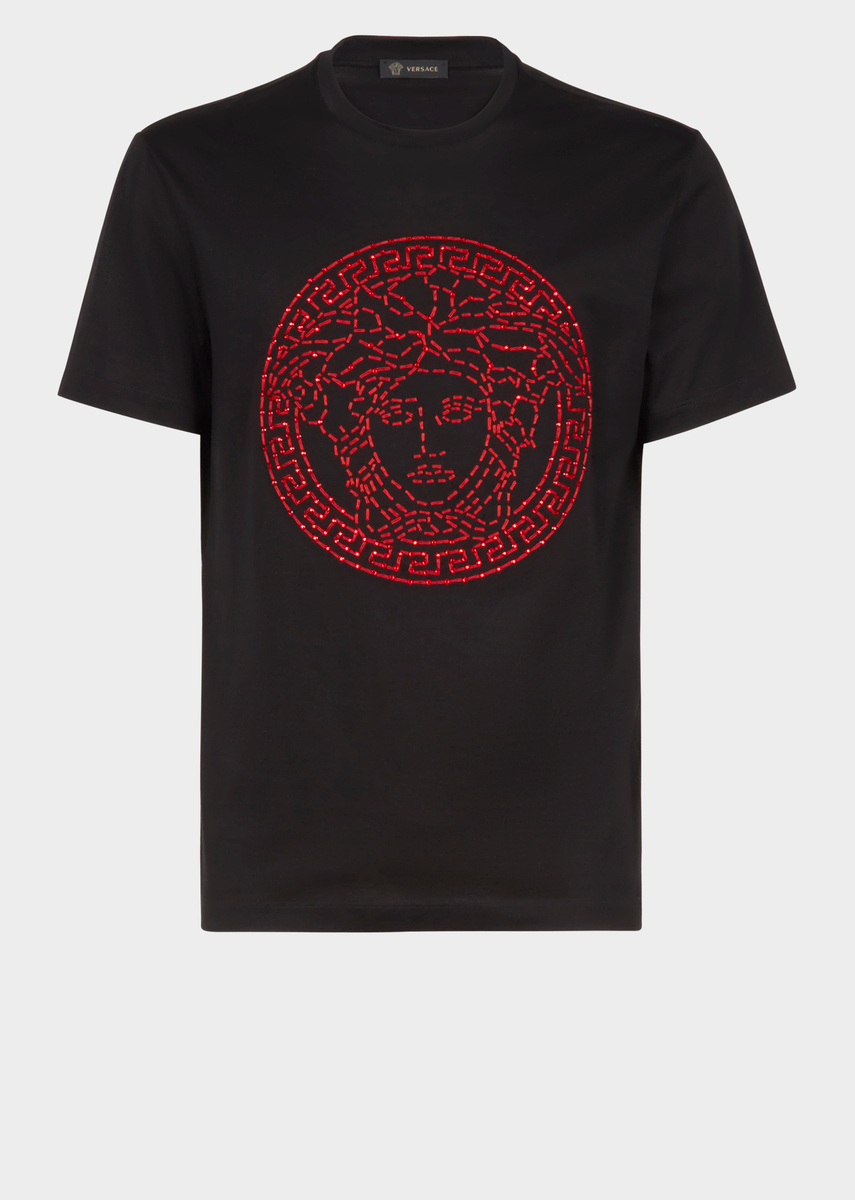 6ae0a280fc Versace Crystal Embroidered Medusa T-Shirt for Men | US Online Store