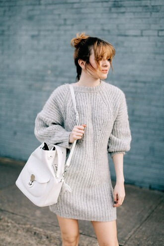 dress tumblr grey sweater grey dress sweater dress knitwear knitted dress bag white bag bucket bag fall dress sea of shoes leather bag minimalist bag