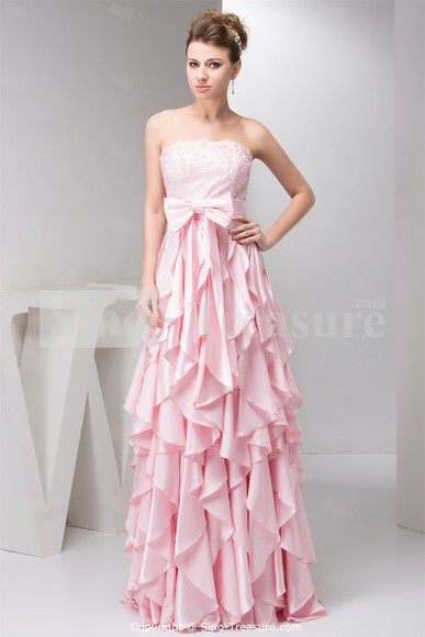 pink dress bows long prom dresses ruffles beautiful ball gowns
