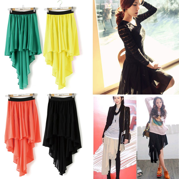 Sexy Asym Hem Chiffon Skirt High Low Asymmetrical Long Maxi Dress Elastic Waist-in Skirts from Apparel & Accessories on Aliexpress.com