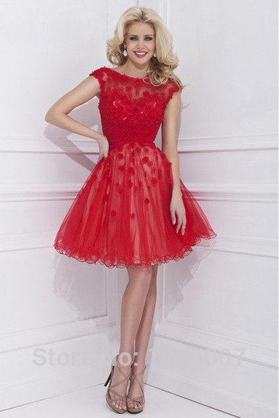 Aliexpress.com : Buy Boat Neck Cap Sleeves Short Sleeves Lace Top Tulle Red Mini Short A Line Homecoming Dress New Fashion Cute Little Mini Dress from Reliable dress definition suppliers on SFBridal