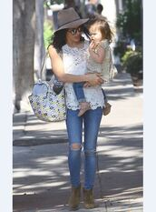 top,jenna dewan,lace,ripped jeans,sunglasses