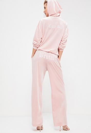 Missguided - Galore Pink Velour Printed Joggers