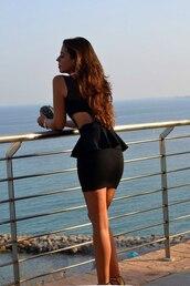 dress,peplum,cut-out,black,sleeveless,sleeveless dress,sexy dress,tight,little black dress,tight waist,black dress,cut-out dress,cut out sides dress,tight black dress