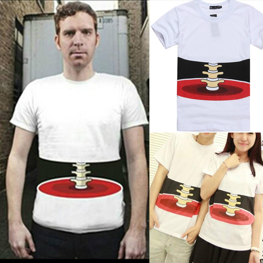 New 3D Effect Bone Print Short Sleeve Korean Leisure Men Women T Shirt 3sizes | eBay