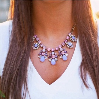 pearl jewels top girly tank top necklace cute purple white nail accessories statement necklace