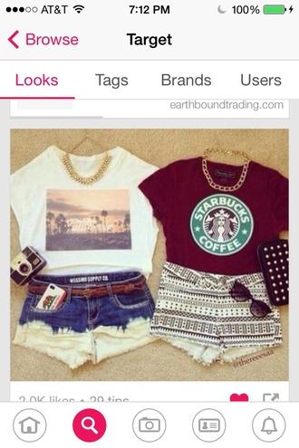 shirt starbucks coffee california shorts trendy fun teen beach summer style cute