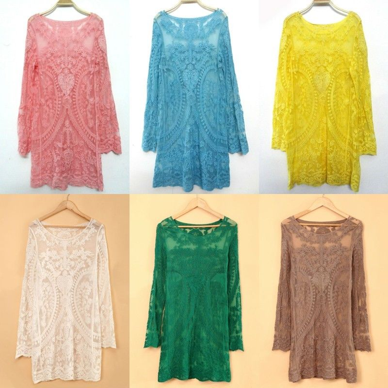 New Style HIPPIE Boho People Retro Lace Sheer Embroidery Shirt Dress Top Blouse