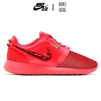 shoes red shoes white yeezus nike roshe run red yeezy