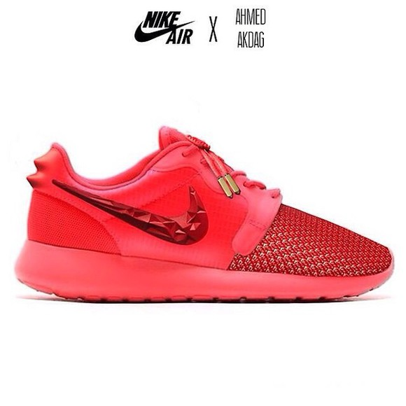shoes red shoes white, yeezus, kanye west red nike roshe run roshe runs yeezy