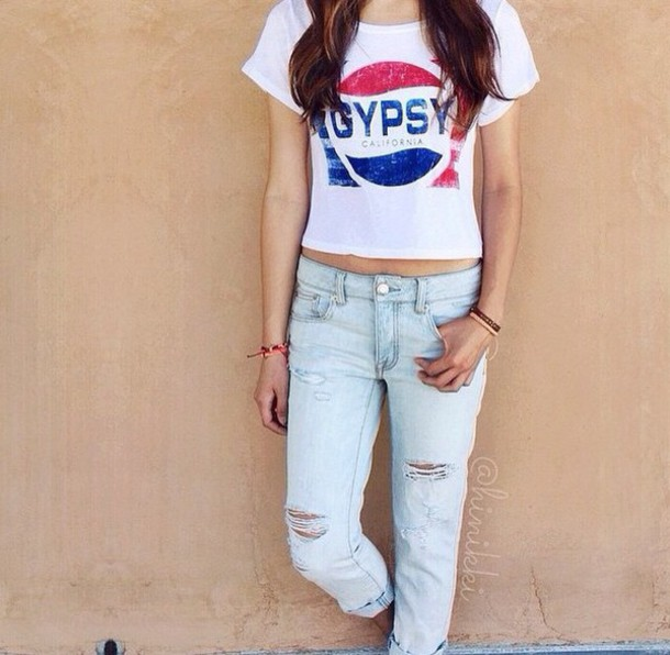 shirt pepsi blouse red blue shirt t-shirt gypsy