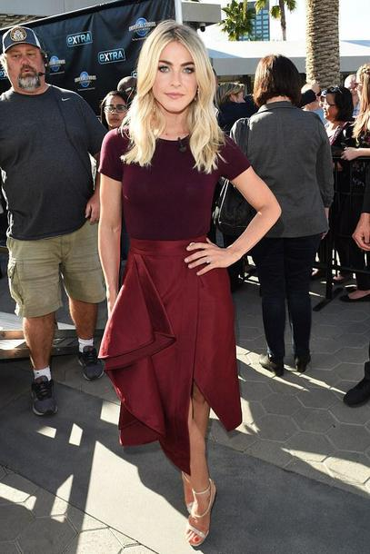 skirt julianne hough asymmetrical asymmetrical skirt burgundy