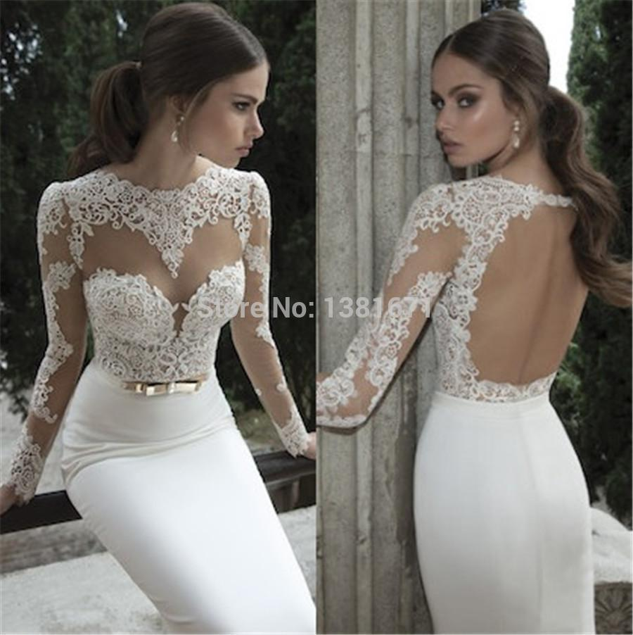 Aliexpress.com : Buy 2014 Summer Lace Tulle Illusion Bateau Round Back Applique Gold Belt Sweep Train New Sheer Mermaid Wedding Dresses from Reliable wedding dresses phoenix suppliers on Aojia Top Evening Dress