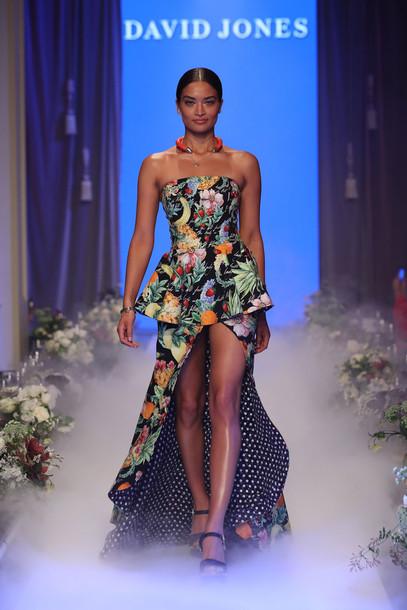 dress runway model gown colorful sandals shanina shaik david jones maxi dress floral dress floral necklace high low dress