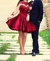 dress,prom dress,evening outfits,party,homecoming,cocktail,red dress,long sleeves,short prom dress,flaredskirt,red