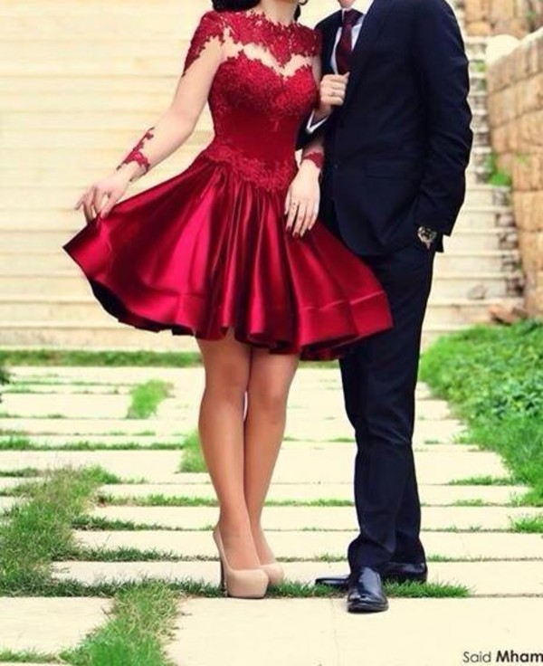 dress prom dress evening outfits party homecoming cocktail red dress long sleeves short prom dress flaredskirt red