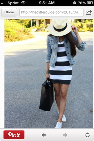 dress jacket striped dress stripes denim bag summer outfit hat white plimsolls ootd streetstyle women fashion women clothing haute couture shoes keds white keds panama hat blue denim jacket black and white striped dress denim jacket black tote black and white dress