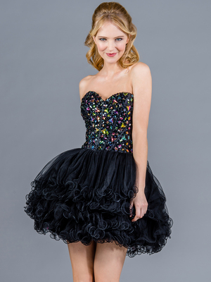 Short Prom Dresses, Jeweled, Layered Skirt, Corset Dress from Sung Boutique Los Angeles