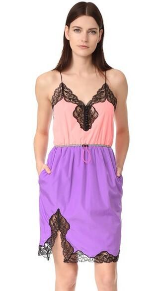 dress slip dress v neck pink