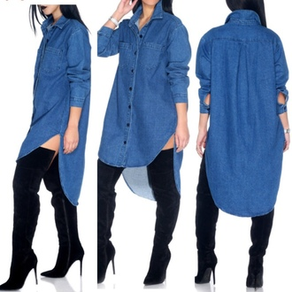 blouse denim shirt dress urban shoes