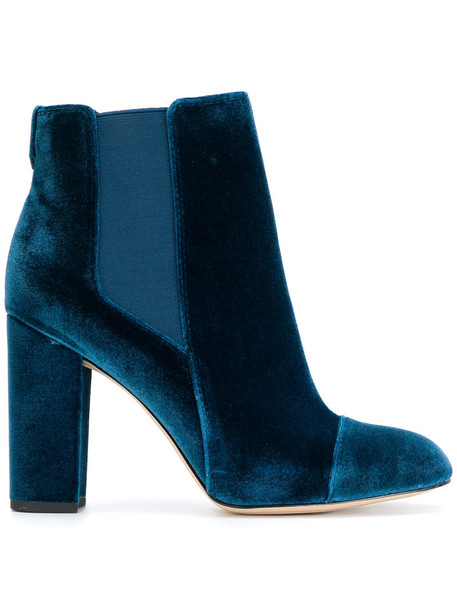 Sam Edelman women chelsea boots leather blue velvet shoes