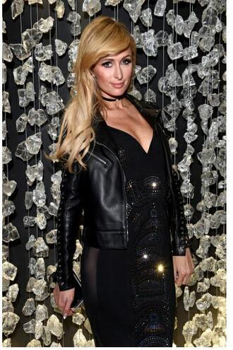 dress fashion week 2017 paris hilton black dress jewels choker necklace black choker necklace jewelry celebrity style celebstyle for less