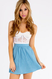 skirt,white,light blue,cute,tobi.com,crop tops,polka dots,blue skirt,polka dot skirt