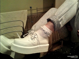 shoes creepers creepy gunge pastel goth white