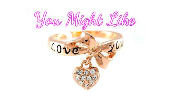 rose jewels ring love you pendant heart crystal diamonds
