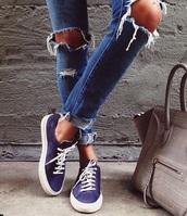 jeans,ripped jeans,ripped,skinny jeans,style,sneakers,shoes,blue,sportswear,street