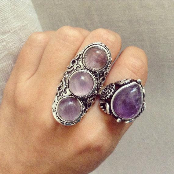 Adjustable 3 amethyst stones ring