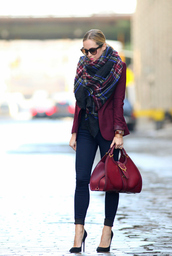 brooklyn blonde,jewels,jacket,jeans,shoes,bag,scarf,wine,coat,autumn/winter,big scarf,flannel scarf,burgundy,pants,cardigan,maroon/burgundy,red bag,burgundy blazer,plaid,red cardigan,wine color,burgundy bag,black heels,burgundy jacket,oxblood bag,girl,bordo,fashion,shawl,beautyful,clothes,gucci red purse,dark red,blazer,whole outfit..,black,purse,cute,winter outfits,winter formal dress
