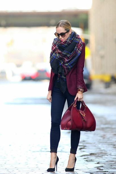 brooklyn blonde jewels jacket jeans shoes bag scarf wine coat autumn/winter big scarf flannel scarf burgundy pants cardigan maroon/burgundy red bag burgundy blazer plaid red cardigan wine color burgundy bag black heels burgundy jacket oxblood bag girl bordo fashion shawl beautyful clothes gucci red purse dark red burgundy blazer whole outfit.. black purse cute winter outfits winter formal dress